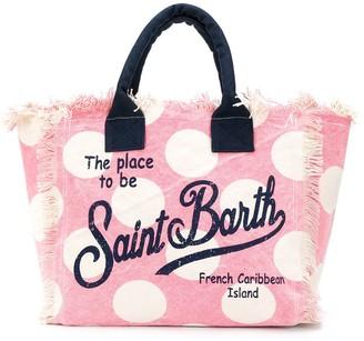 MC2 Saint Barth Polka Dot Logo Print Beach Bag