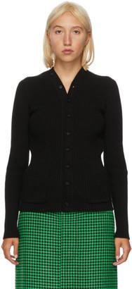 Balenciaga Black Rib Knit Cardigan