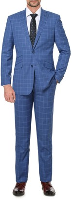 English Laundry Blue Plaid Slim Fit Single Breasted Suit