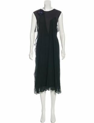 Lanvin Silk Midi Dress Grey