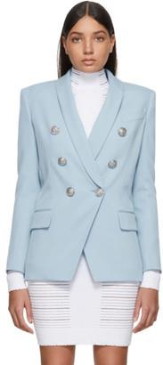 Balmain Blue Wool Double Breasted Blazer