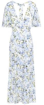 Les Rêveries Cutout Floral-print Silk-satin Midi Dress