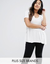 Brave Soul Plus T-Shirt With Frill Hem