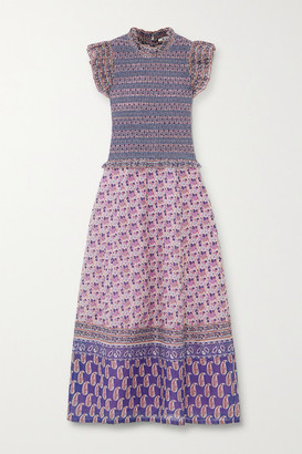 Sea Bianca Ruffled Smocked Floral-print Cotton Midi Dress - Purple
