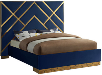 Meridian Furniture Vector Bed, Navy, King, Velvet Upholstered