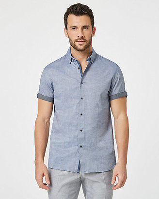 Le Château Tonal Cotton Tailored Fit Short Sleeve Shirt