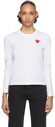 Comme des Garcons White Heart Patch Long Sleeve T-Shirt