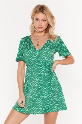 Nasty Gal Womens Let's Go Daisy Wrap Tea Dress - Green