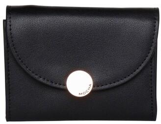 Mocha Brianna Leather Mini Coin Wallet - Black