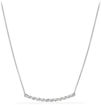 David Yurman Petite Paveflex 18K White Gold Station Necklace with Diamonds