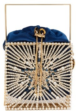 Rosantica Lanterna Crystal-star Clutch Bag - Womens - Blue Multi