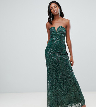 TFNC Tall patterned sequin bandeau maxi dress in green