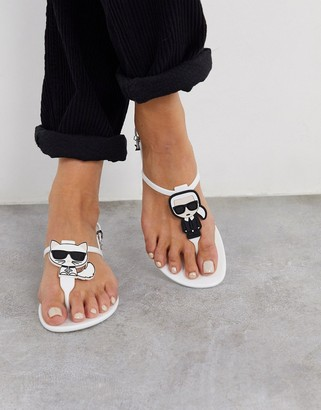 Karl Lagerfeld Paris Iconic jelly sandals in white