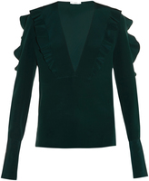 Fendi Ruffle-trimmed silk-crepe blouse