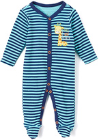 Baby Starters Turquoise & Navy Stripe Footie - Infant