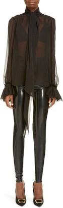 Saint Laurent Tie Neck Flare Cuff Sheer Silk Blouse