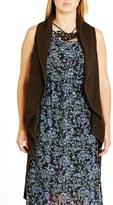 City Chic Plus Size Women's Sleeveless Drape Front Long Cardigan