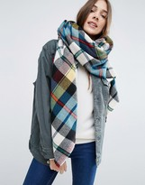 Asos Oversized Square Scarf In Multi Check