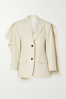 pushBUTTON Draped Pinstriped Cotton-blend Blazer