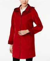 Jones New York Two-Toned A-Line Hooded Raincoat
