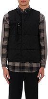 Robert Geller Men's Belt-Detail Quilted Cotton Vest-BLACK