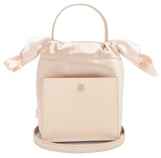 Sophie Hulme Nano Knot Leather And Satin Bucket Bag - Womens - White Multi
