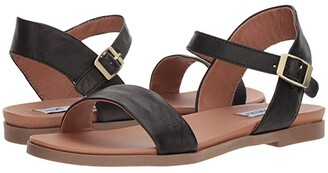 Steve Madden Dina Sandal (Black Leather) Women's Sandals