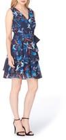 Tahari Petite Women's Chiffon Faux Wrap Dress