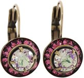 Liz Palacios Antiqued Brass Small Rondelle Crystal Earrings, BSE-43 Fuchsia Iridescent