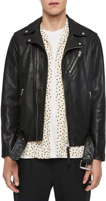 AllSaints Rigg Slim Fit Leather Moto Jacket