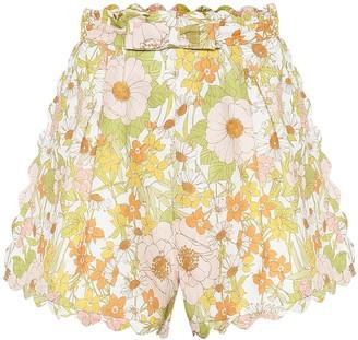 Zimmermann Super Eight floral linen shorts