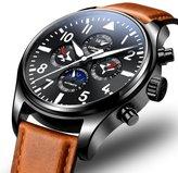 Carnival Pilot Men's Complications Analog Automatic Mechanical Watch Luminous Calendar Moon Phase 24-Hours Black