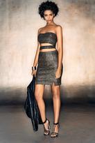 Boohoo Cara Metallic Bandeau Mini Skirt Co-Ord Set