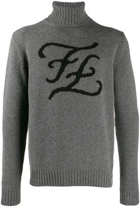 Fendi karligraphy roll-neck jumper