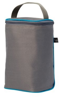 J L Childress Tall TwoCOOL 2 Bottle Cooler - Breastmilk and Baby Bottle Bag with Ice Pack, Grey/Teal