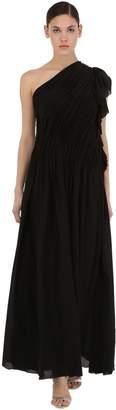 Lanvin One Shoulder Ruffled Silk Dress