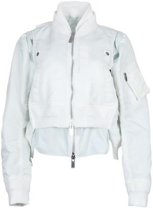 Sacai White Zipped Satin Jacket
