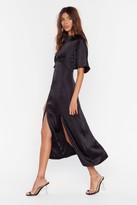 Nasty Gal Womens Make Your Smooth Satin Midi Dress - black - 10
