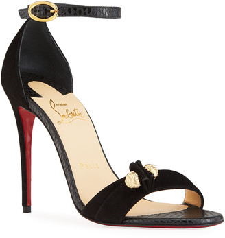 Christian Louboutin 100mm Mixed Leather Knot Sandals