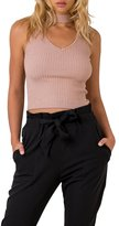 Simplee Apparel Women's Sleeveless Halter V Neck Ribbed Knitted Tank Top