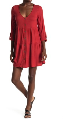 Kenedik Button Front Ribbed Tiered Mini Dress