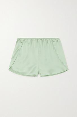 Anine Bing Jade Silk-satin Pajama Shorts - Green