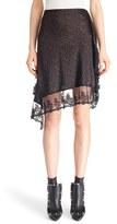 Givenchy Women's Logo Print Lace Trim Asymmetrical Silk Skirt