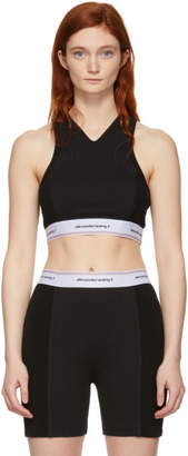 Alexander Wang Black Wash and Go Logo Bra