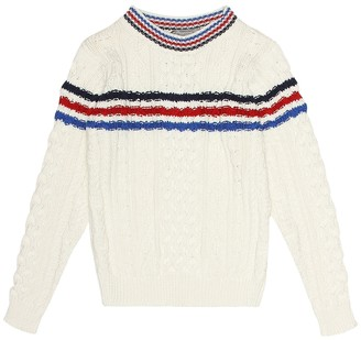 Bonpoint Striped cotton cable-knit sweater
