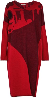 Crea Concept Red wool and cotton jumper dress