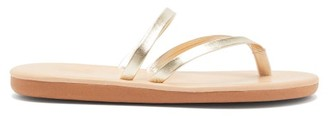 Ancient Greek Sandals Cross-strap Metallic Leather Slides - Womens - Gold