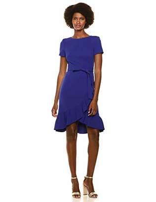 Calvin Klein Women's Short Sleeve Dress with Ruffle Hem and Self Belt