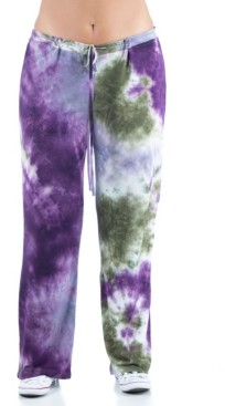 24seven Comfort Apparel Women's Plus Size Tie Dye Lounge Pants
