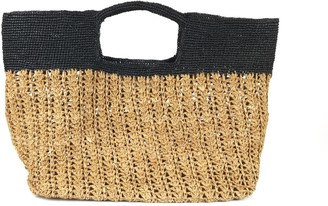 Maraina London Ines Odette Raffia Beach Bag- Brown